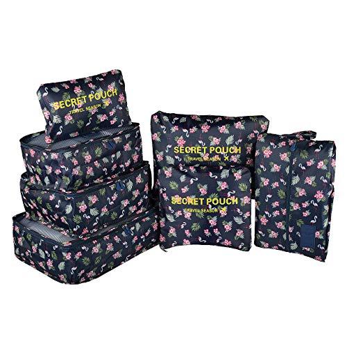 Maomaoyu Reisegepäck-Organizer, Koffer-Aufbewahrungstaschen, 7-teiliges Set, atmungsaktiv, leicht, Farboptionen (Flamingo)