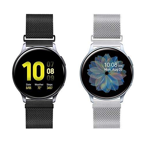 Vodtian 20mm Schnellwechsel Edelstahl Mesh Uhrenarmband für Samsung Galaxy Watch 42mm / Active2 44mm 40mm /Gear Sport/S2 Classic/Garmin Vivoactive 3,Metall Ersatz Sport Armband(20mm, Schwarz+Silbrig)