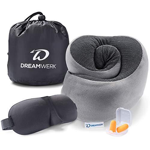 Dreamwerk Reise Wunder - Innovatives Reise Nackenkissen Set mit Memory Foam | Unfassbar klein einrollbar für 100% entspannte Reisen im Flugzeug und Auto | Nackenhörnchen Grau