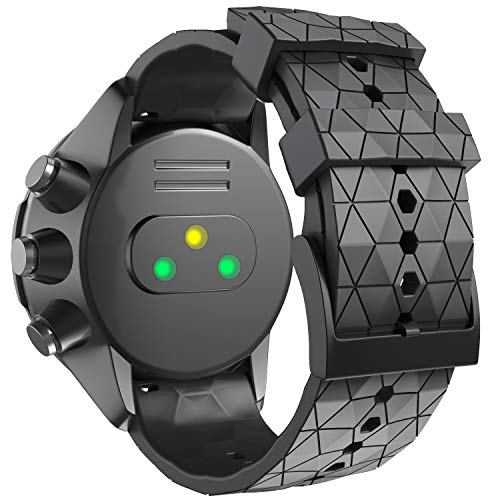 ANBEST Uhrenarmband Kompatibel mit Suunto 9/Suunto 7/Suunto 9 Baro Armband, 24mm Ersatzarmbänder Weiches Silikon für Suunto D5/Suunto Spartan Sport Wrist HR Smart Watch, Schwarz