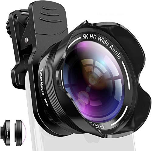 Handy Kamera Objektiv Set Phone Camera Kit mit Makro und 5K 0.56X-fachem Weitwinkelobjektiv für iPhone X XR XS Max 8 7 6S Plus, Samsung Note 9 und Android Smartphone mit Tasche