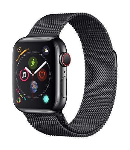 Apple Watch Series 4 GPS + Cellular, 40mm Edelstahlgehäuse mit Space Black Milanaise Armband
