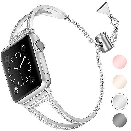 Aottom Kompatibel für Apple Watch Series 5 Armband 40mm Damen Edelstahl,Armband Apple Watch Series 4 40mm Uhrenarmband Armbänder Apple Watch Series 3 38mm Ersatzband iWatch Series 5 40mm Bänder