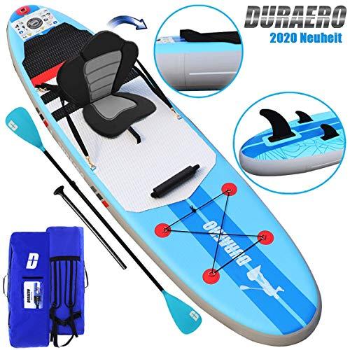 DURAERO SUP Board Set Stand up Paddling Board Aufblasbare, Paddling Surfbrett, Wassersport Kajak Sitz, Komplettes Zubehör 2020, 305x76x15cm, Bis 110kg