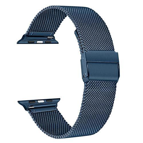 TRUMiRR Ersatz für Apple Watch Serie 6 Armband 44mm 42mm, Mesh Gewebte Edelstahl Armband Metall Uhrenarmband Business Ersatzband für Apple Watch Serie 5/Serie 4/Serie 3/Serie 2/Serie 1/Apple Watch SE