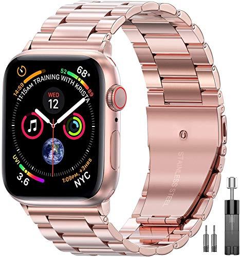 Mediatech Ersatzarmband Kompatibel mit Apple Watch Armband 44mm 42mm 40mm 38mm Edelstahl Metall, Wechselarmband mit Faltschließe kompatibel mit iWatch Series 6/5/4/3/2/1 SE (38mm/40mm, Rosegold)