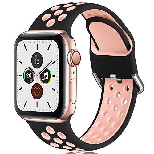CeMiKa Ersatzarmband Kompatibel mit Apple Watch Armband 38mm 40mm 42mm 44mm, Weichem Silikon Sportarmband Kompatibel mit Apple Watch SE/iWatch Series 6 5 4 3 2 1, 38mm/40mm-S/M, Schwarz/Rosa