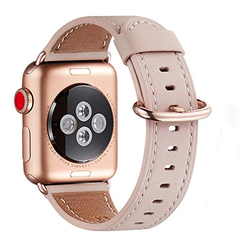 WFEAGL Kompatibel mit Smart Watch Armband 38mm 40mm,Top Grain Lederband Ersatzband mit Edelstahl-Verschluss Kompatibel für Smart Watch Serie 5/4/3/2/1(38mm 40mm, Rosa Sand2+Rosé Gold2 Adapter)