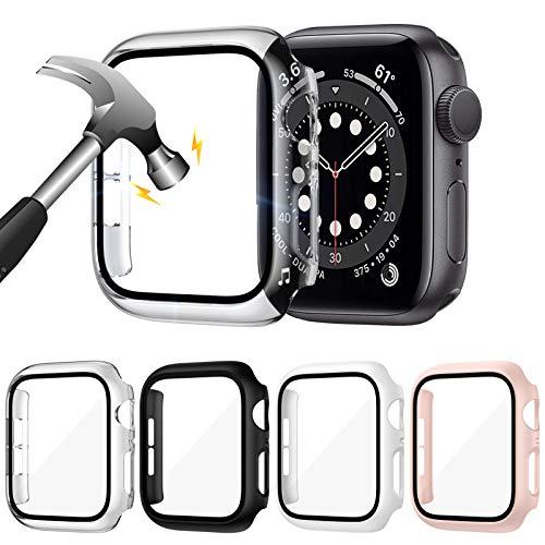 LORDSON [4 Stücke] Glas Schutzhülle Kompatibel mit Apple Watch Series SE/6/5/4 40mm Hülle, Matt PC Vollständige Abdeckung mit Gehärtetes Glas Schutzfolie Schutz Cover Case - 99,99% HD, Kratzfest