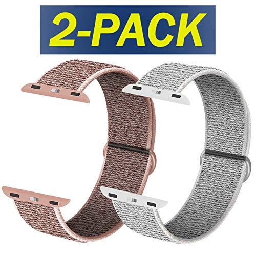 INZAKI Kompatibel für Apple Watch Armband mit 38mm 38 mm 40 mm 42 mm 44 mm, weicher Sportschlaufe, Riemenersatz für iWatch Serie 5, Serie 4, Serie 3, Serie 2, Serie 1,Rosa Sand&Summit White