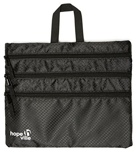 HOPEVILLE Reißverschlusstasche, 4 in 1 Reise Organizer mit 4 großen Fächern für Reiseunterlagen, Tablet und Reiseutensilien, Premium Taschenorganizer für Reise, Freizeit und Ausflug (Schwarz)