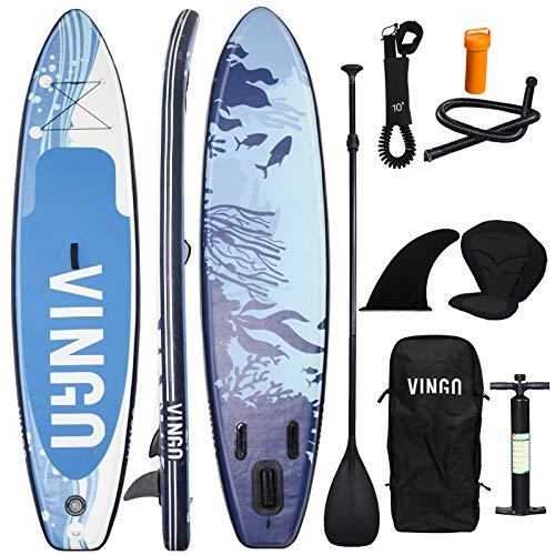 VINGO SUP Board Set Aufblasbares Stand Up Paddle Board 6 Zoll Dick ,Paddling Surfboard Stabiles Leichtgewicht,Komplettes Zubehör,Premium SUP Package