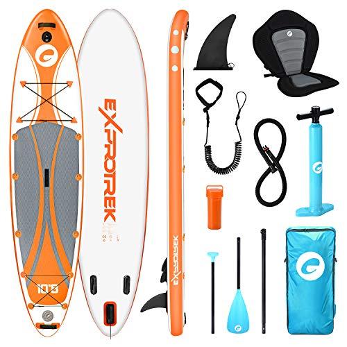 Exprotrek Stand Up Paddling Board, aufblasbares SUP Board, Stand Up Paddle Board Set, mit Aluminiumpaddel, Kajaksitz und komplettem Zubehör (100 kg MAX)