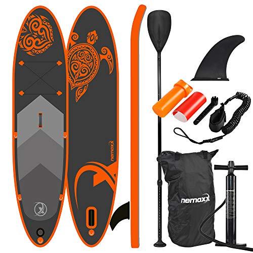 Nemaxx PB300 Stand up Paddle Board 300x76x15cm, orange/anthrazit - SUP, Surfbrett, Surf-Board - aufblasbar & leicht zu transportieren - inkl. Tasche, Paddel, Finne, Luftpumpe, Repair Kit.