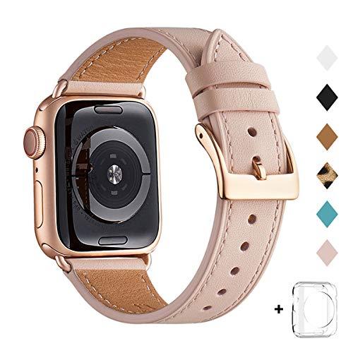QAZNZ Lederarmband Kompatibel mit Apple Watch Armband 40mm 38mm 44mm 42mm, Original Leder Ersatzband Kompatibel mit iWatch Serie 6 5 4 3 2 1 & iWatch SE(38mm 40mm,Rosa Sand/Roségold)