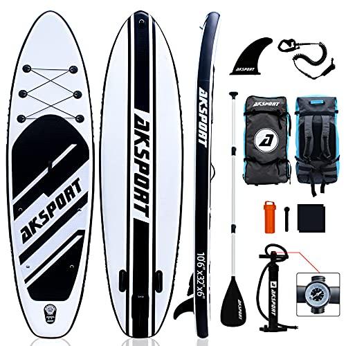 AKSPORT SUP Board Set | Aufblasbares Stand Up Paddle Board |10.6' 320x81x15cm | 6 Zoll Dick | Premium Surfboard | Komplettes Zubehör