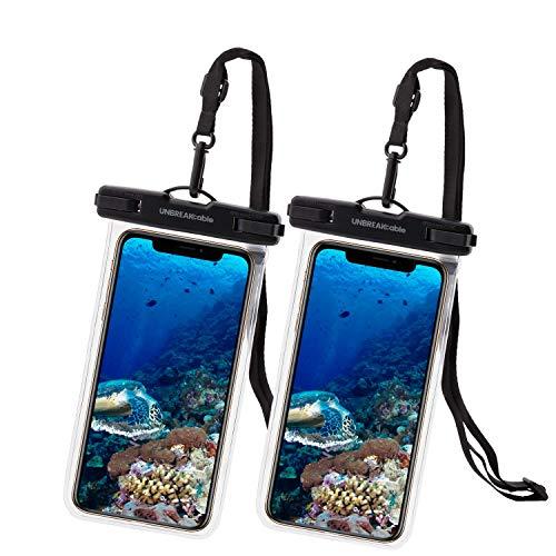 UNBREAKcable wasserdichte Handyhülle - [2 Stück] 7.0 Zoll IPX8 Unterwasser handyhülle wasserdicht Urlaub Zubehör für Schwimmen, Baden für iPhone 12 Pro Max/12/11/XS/X, Samsung & Mehr - Transparent