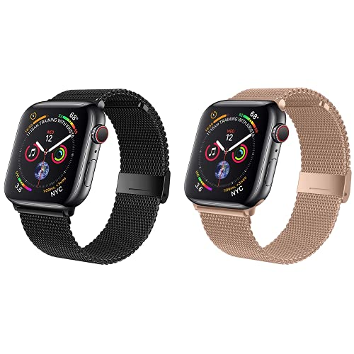 Wiselead Ersatzarmband kompatibel mit Apple Watch Armband 38mm 40mm, Edelstahl Metall Armband kompatibel mit iWatch Series 6/5/4/3/2/1/SE - Schwarz+Roségold