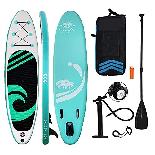 HIJOFUN SUP Board Aufblasbare Stand Up Paddle Board 150kg 320x80x15cm 6 Zoll Dick with Paddling Board Zubehör für Jugendliche Grün