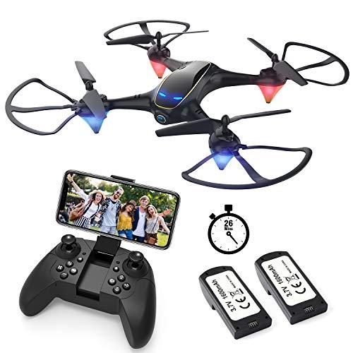 EACHINE E38 Drohne mit Kamera 720MP,WiFi FPV Echtzeitübertragung,Headless-Modus,automatische Rückkehr,Höchenhaltung,2 Batterie(Schwarz)