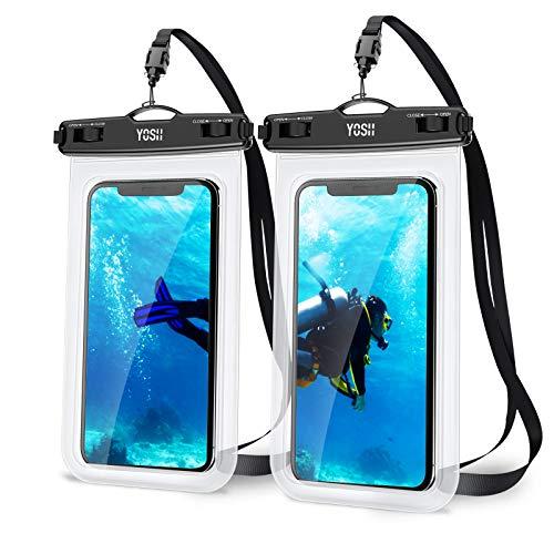 YOSH wasserdichte Handyhülle Tasche Beutel (2 Stück) bis zu 7.0 Zoll Handytasche wasserdicht Handy Wasserschutzhülle Schwimmen, Baden für Samsung S9/S8/S7/S6, iPhone 12/Pro/11/8/7/6s Plus Huawei etc.