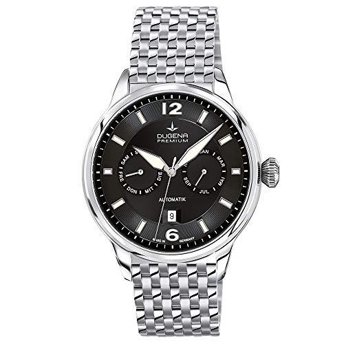 Dugena Herren Automatik-Armbanduhr, Saphirglas, Uhrwerk mit 26 Steinen, Kappa Kalender, Silber/Schwarz, 7090304