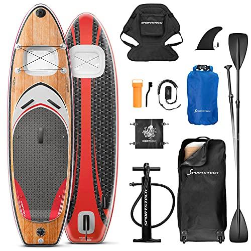 Messe-Neuheit 2020! Premium WBX SUP-Board mit 2in1 Sichtfenster   Action-Cam Ready +9in1 Set   Deutsches Qualitätsunternehmen   Aufblasbares Stand Up Paddel Board  Wassersport Kajak Sitz   Surfbrett