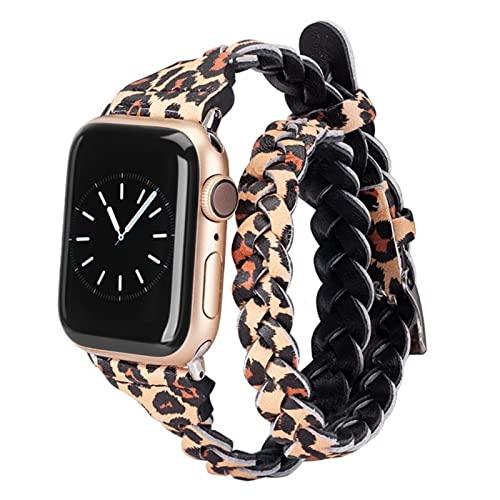Leather Weave Double Wrap Band für Apple Watch Zubehör für Damen 38mm 40mm 4mm 44mm Armband iWatch Serie 5 4 31