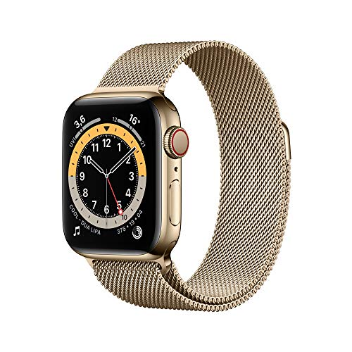 Apple Watch Series 6 (GPS + Cellular, 40 mm) Edelstahlgehäuse Gold, Milanaise Armband Gold
