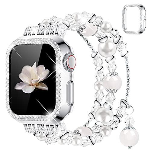 wlooo Perlenarmband für Apple Watch 44mm 42mm 40mm 38mm, Frauen Mädchen Handgefertigtes Achat Elastisches Bracelet Kristall Perle Ersatz Armbänder & Glitzer Hülle für iWatch Series SE 6 5 4 3 2 1 38mm