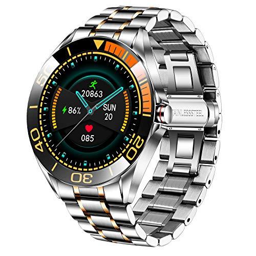 LIGE Herren Smart Watch, IP67 wasserdichte Fitness Tracker Uhren mit Herzfrequenz Blutsauerstoff Blutdruck Überwachun Voll Touchscreen Outdoor Smartwatch Edelstahlband