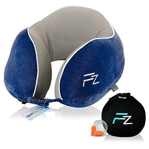 FLOWZOOM® Premium Reise-Nackenkissen   Innovatives Nackenkissen aufblasbar mit nur einem Atemzug   Ideal für Flugzeug-Reisen   Mit weichem Memoryschaum - Blau