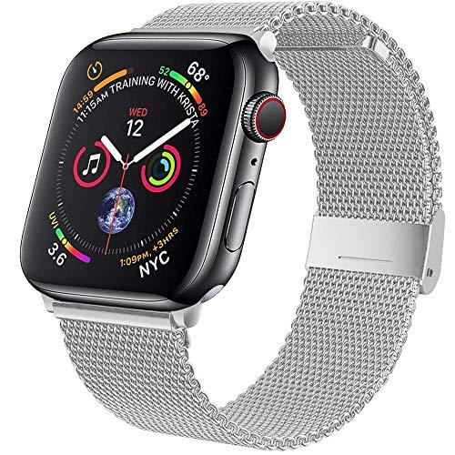Wiselead Ersatzarmband kompatibel mit Apple Watch Armband 38mm 40mm, Edelstahl Metall Armband kompatibel mit iWatch Series 6/5/4/3/2/1/SE - Silber