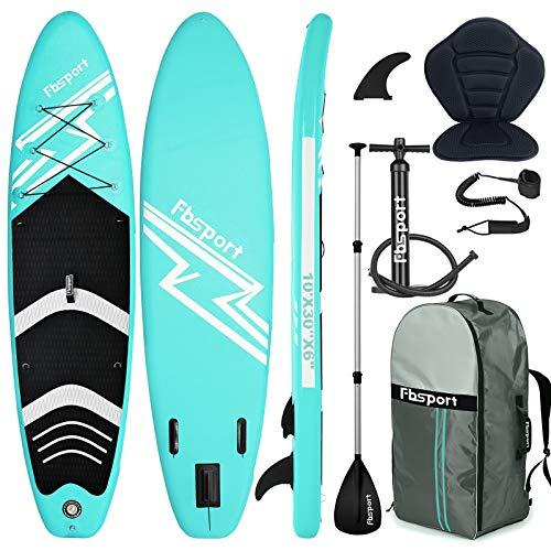 FBSPORT SUP Board,Stand Up Paddle Board,Aufblasbare Boards für Stand-Up Paddling 15CM Dick,mit 3-TLG verstellbares Alu-Paddel+Kajak Sitz+Handpumpe,Komplettes Zubehör,Modelle-320CM