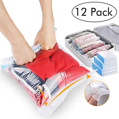 12 STK Reise Vakuumbeutel zum Rollen per Hand,3 Größen Vakuum Beutel Wiederverwendbar & Kompressionsbeutel für Kleidung, Bettdecken, Bettwäsche, Kissen, Wolldecken, Vorhänge.