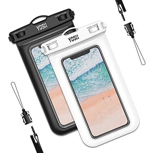 YOSH wasserdichte Handyhülle universal Tasche 2 Stück Wasserschutzhülle Urlaub 6,8 Zoll Waterproof Phone Case Kompatibel mit iPhone 12 11 Pro XS Max XR X Samsung S9+ (weiß & schwarz)