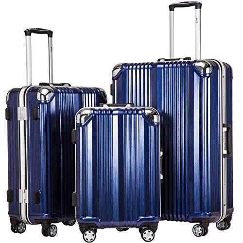 COOLIFE-Hartschalen Fashion Koffer • Alu Rahmen • Polykarbonat Material • Reisegepäck Reisetrolley Trolley • mit TSA-Schloss und 4-Doppelrollen, die 360° drehbar sind (Blau, Koffer-Set)