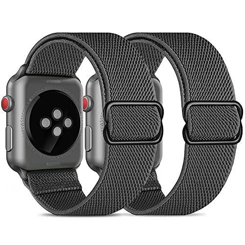 CACOE Kompatibel mit Apple Watch Armband 42/44 MM, 2 Stücke Sport Elastic Band für Series Nylon Weiches Leichtes Atmungsaktives Wasserdichtes für Series 6/SE/5/4/3/2/1, Grau