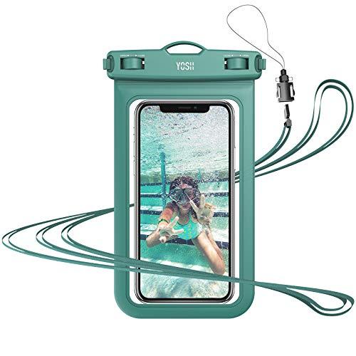 YOSH wasserdichte Handyhülle 6,8 Zoll (Grün) Unterwasser Wasserfeste Handy Wasserschutzhülle Handytasche wasserdicht Schwimmen fürs iPhone 12 11 Pro XS Samsung Galaxy S9+ und weiteren Smartphones