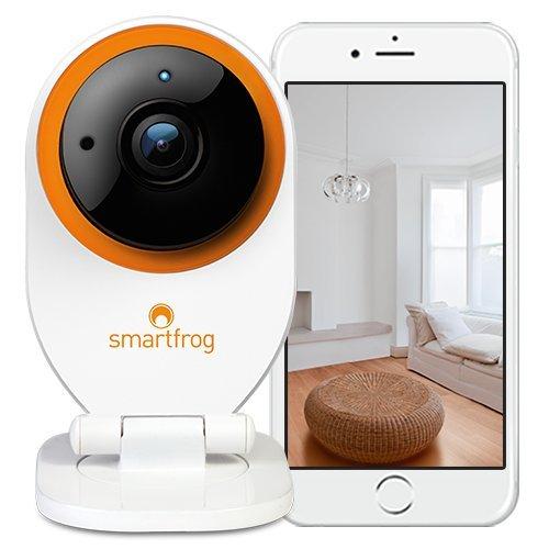Smartfrog WLAN IP Kamera, ABO-modell monatlich kündbar, Überwachungskamera innen mit App; Geräuscherkennung; Nachtsichtfunktion; Bewegungserkennung; Alarmfunktion; Zwei-Wege-Audio; kostenlose Cloud; Babyphone mit Kamera