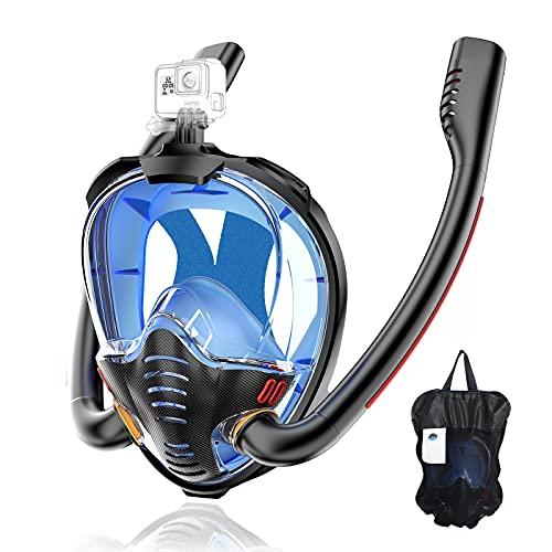 HJKB Tauchmaske Schnorchelmaske Vollmaske CO2 Sicheres Atmen Müheloses Atmen 180° Sichtfeld Anti-Leck Doppelrohre Schnorchelausrüstung mit Kamerahalterung für Kinder und Erwachsene (Schwarz&Blau,S/M)