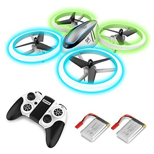 Q9 RC Drohne Drone mit Höhehalten und Blau&Grün Nachtlicht,Quadrocopter mit 2 Akkus,20 Minuten Flugzeit und Propeller voll zu schützen,Spielzeug drohnen für Kinder und Anfänger.