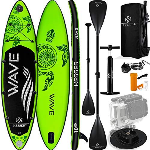 KESSER® Aufblasbare SUP Board Set Stand Up Paddle Board | 320x76x15cm 10.6' | Supboard Premium Surfboard Wassersport | 6 Zoll Dick | Komplettes Zubehör | 130kg Grün