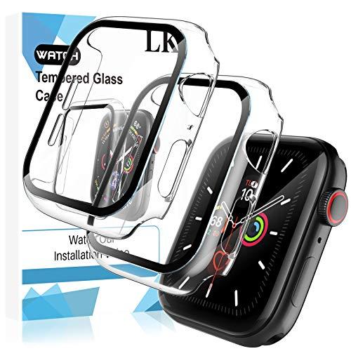 LK 2 Stück Hülle mit Schutzfolie Kompatibel mit Apple Watch Series 6 Series 5 Series 4 40mm, Vollschutz, Gegen, Transparent Folie-Hülle Kompatibel mit Apple Watch Series 6 Series 5 Series 4 40mm