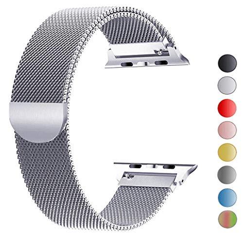 Tervoka Ersatzarmband kompatibel mit Apple Watch 44mm 42mm   Edelstahl Armband   Smartwatch Ersatzarmbänder mit Magnet kompatibel mit iWatch Series 5/4/3/2/1 Silber