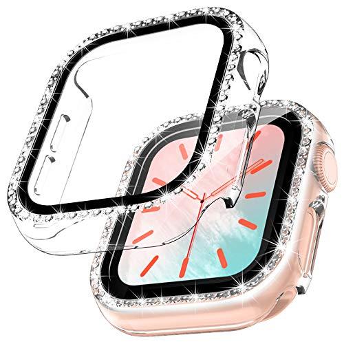 TOCOL 2 Stück Hülle Kompatibel mit Apple Watch Series 6/SE/5/4 40mm mit Panzerglas,360° Rundum Bling Cover Diamonds für iWatch Girl 40mm Transparent