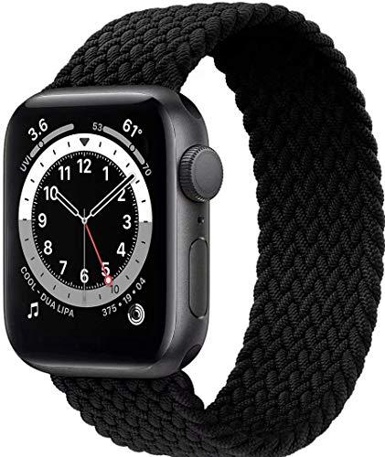 Fengyiyuda Nylon Geflochtenes Solo Loop Kompatibel mit Apple Watch Armband,Sport Elastic Band für Iwatch Series SE/6/5/4/3/2/1,Black,38/40mm-7