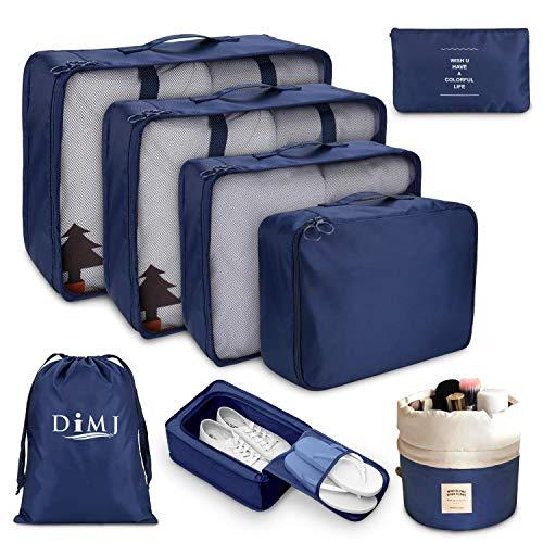 Koffer Organizer Set 8-teilig, kleidertaschen für Kleidung Kosmetik Schuhbeutel Kabel Aufbewahrungstasche, Reisen Organizer Tasche,Marine