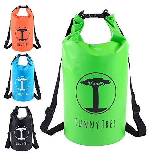 Funny Tree Drybag. (10L grün) wasserdichte (IPx6), optimierte Sporttasche. Als Strandtasche | als Urlaub Zubehör | Stand Up Paddle | Angel Zubehör | schwimmfähig | Sling Bag | Segeln | Schlauchboot