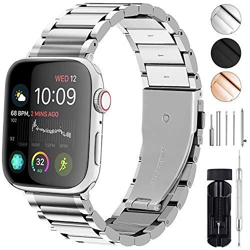 GerbGorb Für Apple Watch Armband 42mm 44mm 38mm 40mm, iwatch Armband Edelstahl Series 5/4/3/2/1, 40mm Silber
